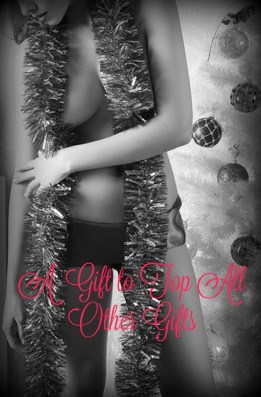 erotic christmas shoot of stunning brunette woman near decorated tree with red ribbon at waistline and tinsel on her naked breast
